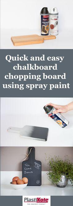 Watch with Rachel: Chopping board chalkboard with PlastiKote spray paint - spray paint ideas Chalkboard Spray Paint, Kitchen Chalkboard, Diy Chalkboard, Spray Paint Tips, Spray Painting, Watch, Paint Ideas, Easy, Crafty