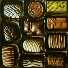 """Belgian Chocolates"", original oil painting by Margaret Horvat.  © 2016 Margaret Horvat.  Visit www.margarethorvat.com to see more available works by Margaret."