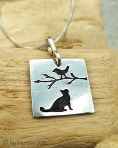 Cat Sees Bird on Branch – silhouette pendant, hand carved fine silver (PMC, metal clay) byMyriam.com .. bird jewelry .. cat jewelry .. cute animal jewelry