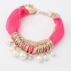 Lace Fabric Bracelet with Imitation Pearl: USD $3.29