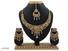 Jewellery Set Trendy Stylish Alloy Women's Jewellery Set  Base Metal: Alloy Plating: Gold Plated Stone Type: American Diamond Sizing: Adjustable Type: Necklace Earrings Maangtika Multipack: 1 Country of Origin: India Sizes Available: Free Size   Catalog Rating: ★4.3 (446)  Catalog Name: Shimmering Chunky Jewellery Sets CatalogID_629151 C77-SC1093 Code: 233-4378487-318