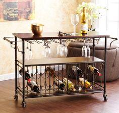 Industrial Wine Rack Cart Kitchen Rolling Storage Bar Wood Table Serving Trolley…
