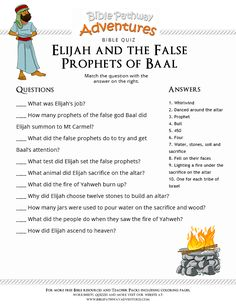 Enjoy our free Bible Quiz: Elijah and the False Prophets of Baal. Fun for kids to print and test their knowledge. Feel free to share with others, too!