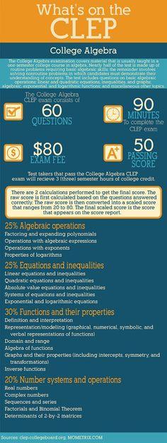 CLEP College Mathematics Test Breakdown   Education   Pinterest ...