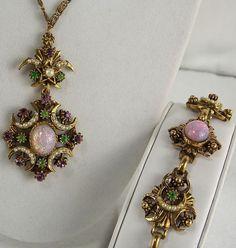 FLORENZA Set Necklace & Bracelet Antique Gold Easter Foil Cabachons Rhinestones #Florenza