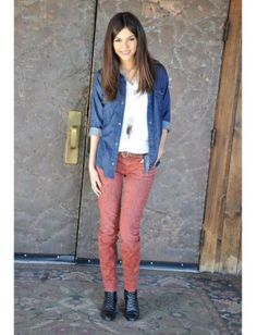 """""""I had just finished filming a commercial with the Victorious cast when this was taken. I love this outfit—it's very me. I was wearing a white tee from American Apparel, a denim shirt by Rails and jeans from Current/Elliott. And the black leather shoe boots are one of my best finds ever from a vintage store. When I don't want to wear a flat shoe, these have a 2-inch chunky heel that gives a bit of a lift.The necklace is from American Eagle. Comfortable + casual = my favorite."""""""
