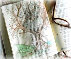 Created by: Dawn Emmott - Bible Journaling, Bible Art Journaling. Psalm 1...a tree by waters