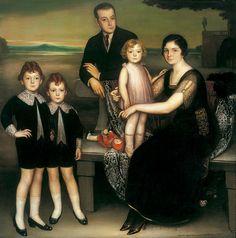 Julio Romero de Torres. 'La familia Basabe', 1919. Óleo y temple sobre lienzo, 149 x 149 cm. Colección PRASA