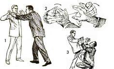 vintage self defense illustration businessman finger lock