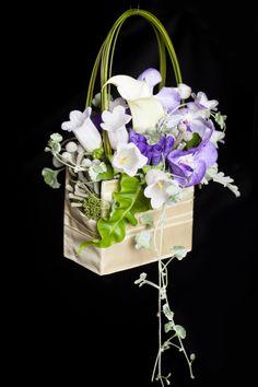 Bridal flower purse, white and purple bridal bouquet. The newest trend. By Dominique Houle www.krop.com/dominiquehoule