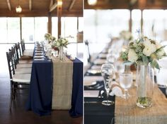 Love The Navy Table Cloth And The Burlap Runner.