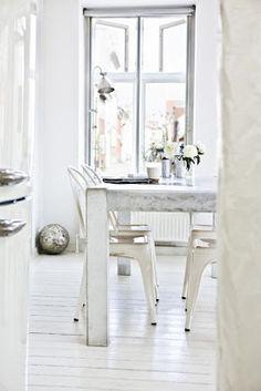 Dining/white/tolix chairs/scandinavian