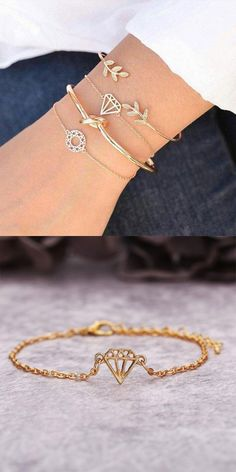 Unique Personality Leaf Diamond Open Four Piece Women Bracelet Cute Bracelets, Fashion Bracelets, Fashion Jewelry, Jewelry Accessories, Jewelry Design, Women Jewelry, Bracelet Designs, Bracelet Set, Custom Jewelry