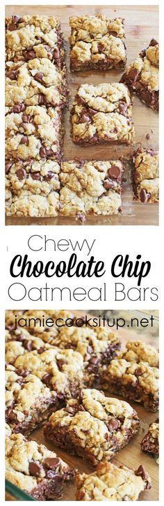 Chewy Chocolate Chip Oatmeal Bars (I added coconut, flax seed and baked extra 5 min) ate some and froze some... Very good