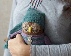 READY TO SHIP Handmade Dreamer Tereshka the Owl- Hand Knitted Toy- Stuffed Animal- Stuffed Owl