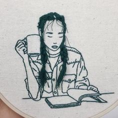 Sheena Liam is a nomad, traveling as a fashion model and embroidering . Diy Embroidery Art, Embroidery Patterns, Garden Mural, Learning To Embroider, Sewing Art, Art Archive, Silhouette, Yarn Colors, Hair Designs