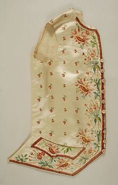 1774–93 Court suit. This formal suit, made or worn with a contrasting waistcoat, handsomely shows the richness of embroidery added to the luxury of patterned silk velvet. The height of the collar and the narrowness of the sleeves, cuffs, and coat fronts date this suit to the fourth quarter of the eighteenth century. Suits of this general type were retained for court wear well into the nineteenth century.