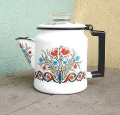 Vintage enamelware coffee percolator -- so cute for camping