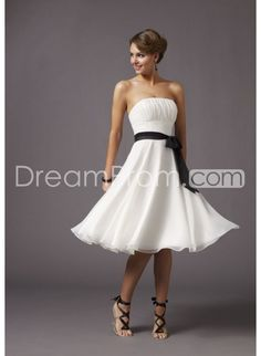 Exquisite Ruched Sashes A-Line Strapless Sleeveless Tea-Length  Bridesmaid Dresses