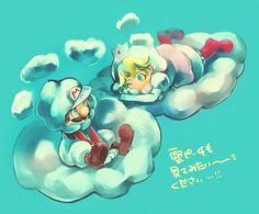 Cloud Mario & Cloud Peach.