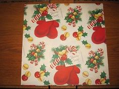 1950s-vintage-Christmas-wrapping-paper-gift-wrap-mittens-candy-canes-mid-century