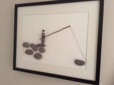 Pebble art. Fisherman Pebble Art, Frame, Beach, Glass, Home Decor, Homemade Home Decor, Drinkware, Interior Design, Frames