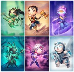 LoL chibi set 3 by justduet.deviantart.com on @deviantART - Akali, Jayce, Malzahar, Thresh, Varus, and Volibear!