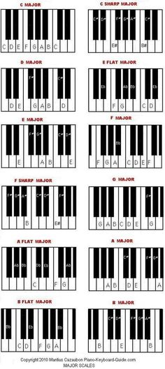 Diagram of scales on the piano.Great for students to use when working with intervals, scales, chords etc