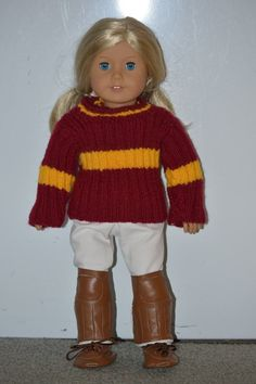Free tutorial for knitting an American Girl doll Quidditch Sweater!!!