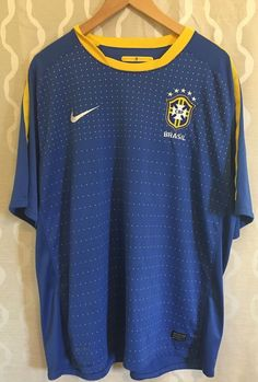 494f726ac08a Nike Brasil Soccer Jersey Shirt Dri Fit World Cup Athletic Brazil Mens 2XL  (XXL)