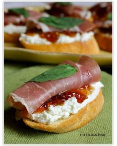 9. #Crostini with Prosciutto, Goat Cheese and Fig Jam - 40 #Party Appetizers to Get Your Guests' #Appetite Flowing ... → Food #Cheese