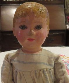 """Rare Tiny Size Antique 11"""" Martha Chase Cloth Doll w/Great Outfit & Facepaint   eBay"""