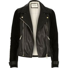 River Island Black premium leather and suede biker jacket (1,030 MYR) ❤ liked on Polyvore featuring outerwear, jackets, leather jacket, tops, biker jackets, black, coats / jackets, women, real leather jacket and tall motorcycle jacket
