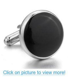 JBlue Jewelry men's Rhodium Plated Cufflinks Black Silver Shirt Wedding (with Gift Bag)