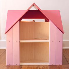 Custom Cottage Dollhouse with Pink Rose Roof and Petal Pink Sides