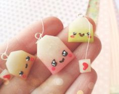 Set of 3 Kawaii Tea Bag Polymer Clay Charm: