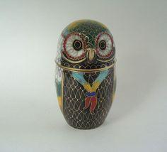 Vintage Cloisonne' Owl Figure Trinket Jewel by TheAnteekTrunque=