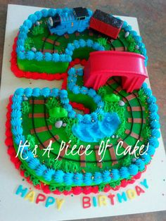 Thomas the Tank #3 cake, buttercream icing by It's A Piece Of Cake! http://www.facebook.com/ItsAPieceofCakeWV?fref=ts