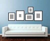 A lot of drama for a little investment. Two wide-mat frames give your… Wall Behind Sofa, Above Couch, Condo Living, Home Living Room, Living Spaces, Picture Frame Layout, Green Rooms, Frames On Wall, Home Decor