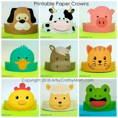 Create your own Fram Animals Paper Headband. Print, cut & glue. Printable PDF in full color and Black and white. 9 Designs 18 Printable templates