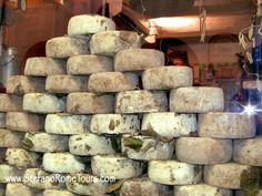Pienza's famous pecorino cheese on display.