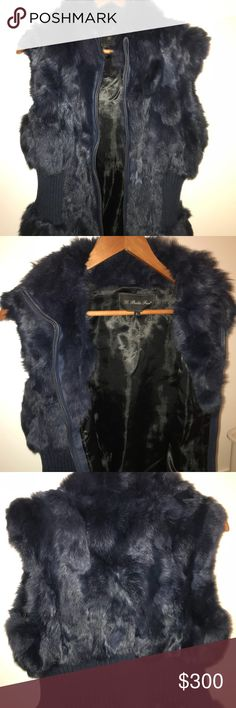 Real rabbit fur vest Fur real - rabbit and cotton strip  Color blue  Size : L, but runs M  Few times wears, in good condition. Jackets & Coats Vests