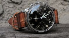 Classic 40's Benrus Sky Chief. black face. brown band. works better than i would have expected. (35.5 mm, lug: 18mm)