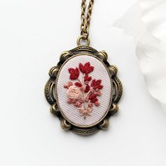 Red Flower Pendant. Embroidery Necklace. by OhMyHeartEmbroidery                                                                                                                                                                                 More