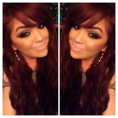 Auburn hair color, makeup