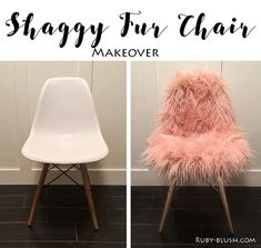 See how I hacked a Ikea Marius stool into a funky pink and gold Fur Stool. Using some Rustoleum bright gold spray paint and a Mongolian sheepskin cushion from TK Maxx I hacked my Ikea stool into a luxe fur stool. A fun IKEA hack. Interior Design Pictures, Salon Interior Design, Salon Design, Chair Makeover, Furniture Makeover, Chaise Diy, Diy Room Decor, Bedroom Decor, Couch Furniture