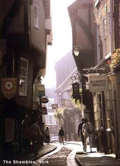 The Shambles in York, England. Great pubs and shopping.