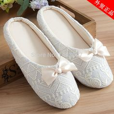 Elegant Lady Home Slippers Indoor Satin Lace Embroidery Slippers Shoes With Bowtie For Pregnant Women Anti Buy online saleboot.cf