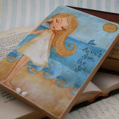 Art Block Beach Girl Childrens Decor Wall Art Mixed Media 4 x 6  $15