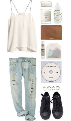 Loose fitting, casual and cute outfit for spring, simple but put together